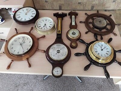 Job lot of vintage ships wheel clocks and barometers