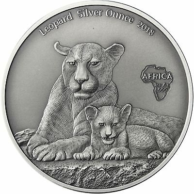 Leopard Silver Ounce 2018 Africa Serie Cameroon 1000 Francs Antique Finish Coin