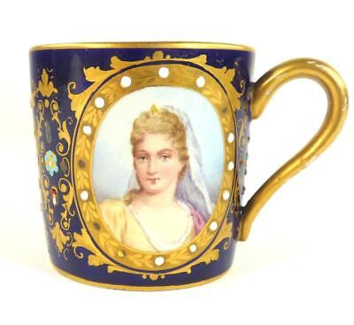 Antique French Sevres Style Porcelain Cup Jeweled Cobalt Blue Trio Of Portraits