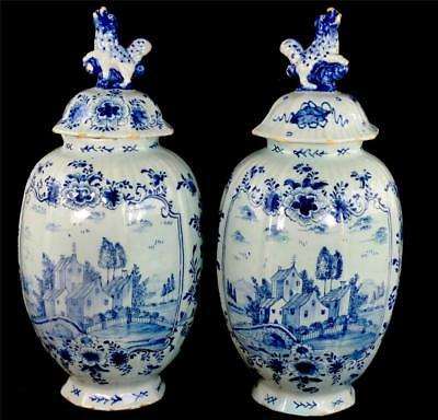 N676 Pair Antique 18Th Century Dutch Delft Tin Glaze Pottery Vases & Covers