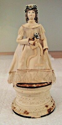 VERY RARE 1800s Antique Doll Cake Topper Strong Doll Museum amazing details