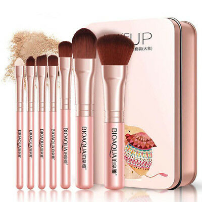 7x Make Up Brush Eyeshadow Blending Brow Lip Eyebrow Eyeliner Cosmetic Kit LH