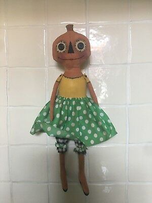 American Americana Primitive Folk Art Handmade Pumpkin Girl Doll Halloween