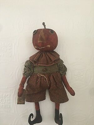 American Americana Primitive Folk Art Pumpkin Man By Ragpatch Primitives