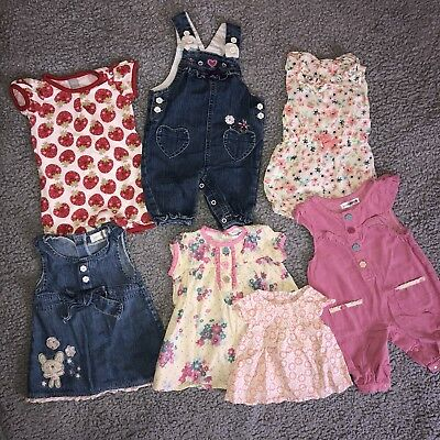 Baby Girls Clothes Bundle 0-3 Months Dresses Dungarees Rompers Used 7 Items