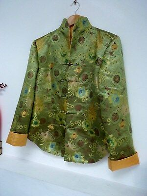 Ladies Lovely Green Mix Oriental Hip Length Floral Sheen Jacket Size XL 14, Vgc