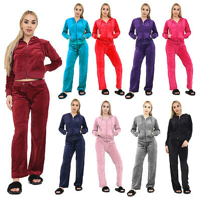 Womens Velour Hooded Lounge Yoga Sport Gym Jogging Ladies Top Trousers Tracksuit