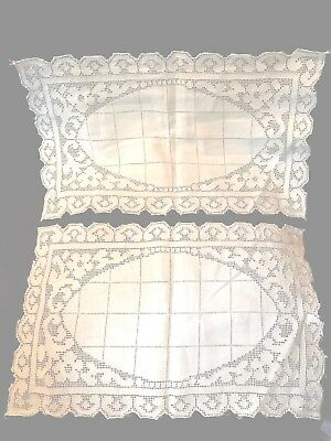"""c1900 TWO FRENCH LACE TRAY MATS/RUNNERS~Authentic Open/Pulled Work~16"""" x 10""""! 💐"""