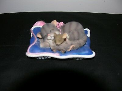 """Charming Tails """"cat Nap"""" Cat W/mouse On Pillow"""