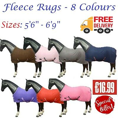 New Pony Cob Horse Show Travel Stable Cooler Sheet Printed Fleece Rug All Sizes
