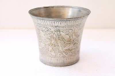 1930's Old Handcrafted Brass Floral Design Inlay Engrave Milk Lassi Glass NH2927