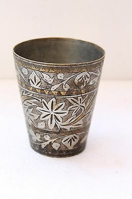 1930's Old Handcrafted Brass Floral Design Inlay Engrave Milk Lassi Glass NH2926