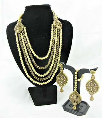 South Asian Semi Bridal Necklace Earring Set Antique Gold Crystal Pearl Beads