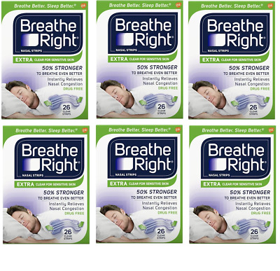 156 BREATHE RIGHT Nasal Strips EXTRA CLEAR Size Nose Band Snoring Sleep Breath
