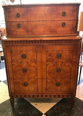 Antique Burr Walnut Chest Of Drawers Tallboy Sideboard Stunning
