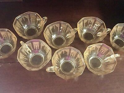 Vintage Yellow Depression Glass - 8 Teacups Cups