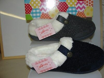 BRAND NEW LADIES JYOTI DENISE FUR LINED SLIPPERS size 3 - 8