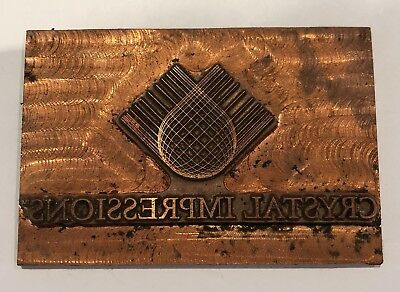 "Vintage Copper Printing Block. Letter Press Plate. ""Crystal Impressions"""