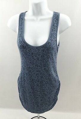 Old Navy Womens Sz Small/P Maternity Sleeveless Tank Top Blue w Floral Pattern