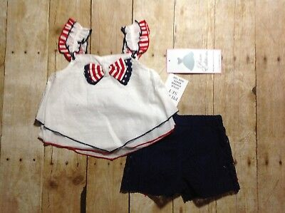 NWT Rare Editions Red, White, Blue Top, Navy Lace Shorts (BB078-79)