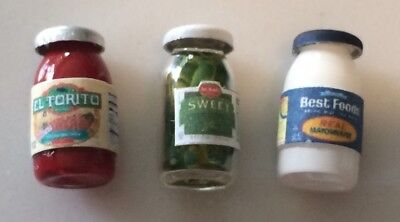 Dollhouse Miniatures Falcon Food Mayonnaise Relish Salsa Jars Item AH2822