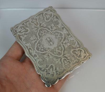 1878 Victorian Solid Silver Hand Engraved Calling / Business Card Case in Box