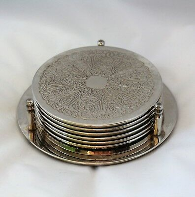 Vintage Silver Plate Set 6 Coasters on Stand Engraved Floral  drinks mats >>>>