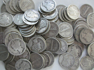 100 Mercury Silver Dimes Circulated $10.00 FV