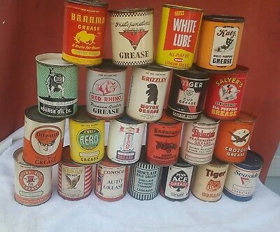 Lot Of 22 Vintage Oil and Grease Cans Old Graphic Artist and Printer's Creation
