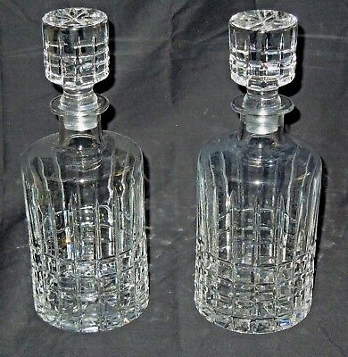 Set of 2 Beautiful Vintage Heavy Glass Crystal Liquor Decanter Bottles