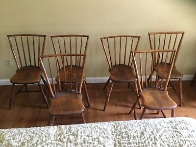 Set  of 6 Antique American Rod Back Windsor Chairs c1800