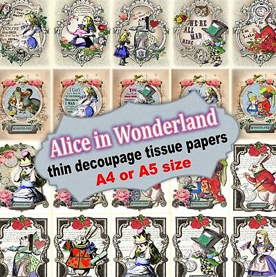 Alice in Wonderland very thin decoupage tissue paper -20 designs -A4 or A5 size