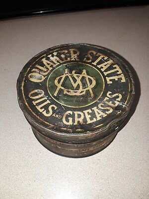 Antique QUAKER STATE oil refining co. Grease Cup Tin Pail  Oil City  PA USA