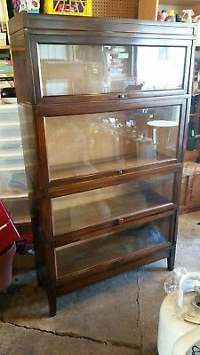 Beautiful Antique Macey Lawyer Barrister Bookcase 4 Section