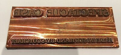 Vintage Copper Printing Block. Letter Press Plate. Spectacle Case Made In Scotla