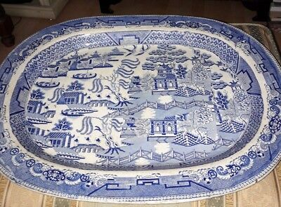 Very Large 19th Century Early Victorian Olde Willow Blue and White Platter