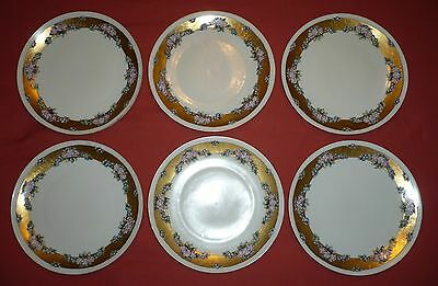 6 Antique Fraureuth Hand Painted Art Deco Plates - Made in Germany -Early 1900's