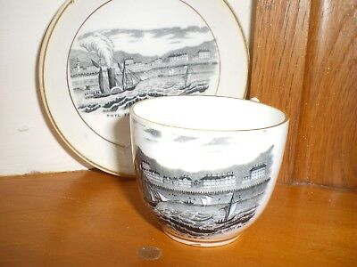 Antique Welsh  Rhyl Small Cup And Saucer   Black /  White Picture  1900's