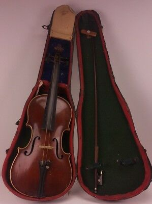 Antique Copy of Antonius Stradivarius Violin in Its Original Case FREE UK P&P