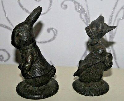 Cambridge Bronzes Beatrix Potter Benjamin Bunny & Jemima Puddleduck By F Warne