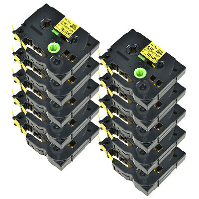 10PK For Brother PT-E300 PT-E550W HSe631 Heat Shrink Tube Black on Yellow 11.7mm