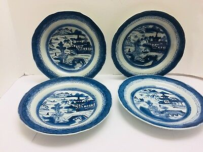 SET 4 ANTIQUE 19th CENTURY CHINESE EXPORT CANTON CHINA RIMMED SOUP PLATES
