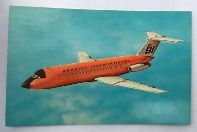 Vintage BRANFF INTERNATIONAL Airline Airport Orange Plane Unused Postcard