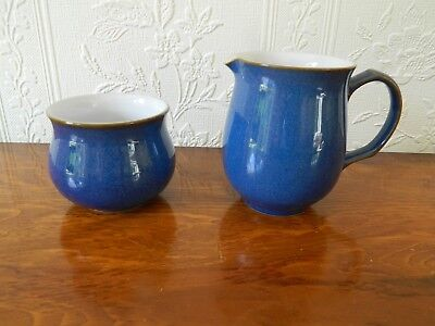 Denby 'iimperial Blue'  1/2 Pint Milk Jug And Sugar Bowl