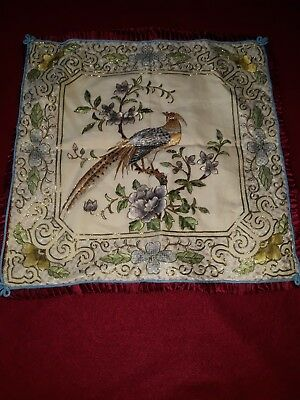 Vintage Chinese Bird hand Embroidered Cushion Cover Hong Kong Golden 50% silk