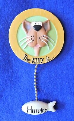 """Has the Cat Been Fed?"" Refrigerator Magnet ""Kitty Is...Hungry / Full"" Adorable!"