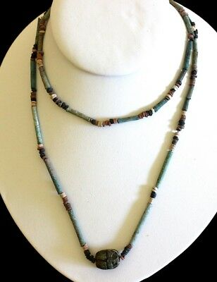 NILE Ancient Egyptian Scarab Amulet Beads (circa 1,000BC) Restrung Necklace