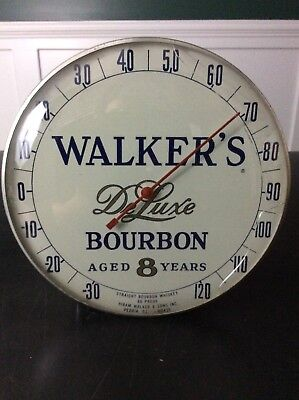 """WALKER'S DELUXE BOURBON 12"""" Glass Covered THERMOMETER Vintage 12"""" x 12"""""""