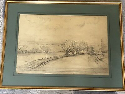"""Original Fine Art Drawing """"Landscape"""" By F. Montenard, French Late 19th Century"""
