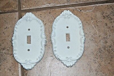 Vintage Set Of 2 Heavy Metal Brass? Light Switch Plate Covers Shabby Chic WHITE
